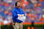 Florida Gators Head Coach Will Muschamp has some words for one of the referees in the second quarter.  Florida Gators vs Eastern Kentucky Colonels.  November 22th, 2014. Gator Country photo by David Bowie.