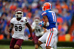 Florida Gators wide receiver Demarcus Robinson catches the long pass from Florida Gators quarterback Treon Harris during the second quarter.  Florida Gators vs Eastern Kentucky Colonels.  November 22th, 2014. Gator Country photo by David Bowie.