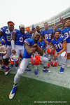 The Florida Gators pose, dance and celebrate their victory.  Florida Gators vs Eastern Kentucky Colonels.  November 22th, 2014. Gator Country photo by David Bowie.