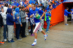 Florida Gators long snapper Kyle Crowfoot runs out onto the field during senior day introductions.  Florida Gators vs Eastern Kentucky Colonels.  November 22th, 2014. Gator Country photo by David Bowie.