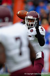 EKU quarterback Bennie Coney throws to running back Dy'Shawn Mobley in the second quarter.  Florida Gators vs Eastern Kentucky Colonels.  November 22th, 2014. Gator Country photo by David Bowie.