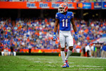 Florida Gators wide receiver Demarcus Robinson walks up to the line during the second quarter.  Florida Gators vs Eastern Kentucky Colonels.  November 22th, 2014. Gator Country photo by David Bowie.