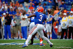 Florida Gators quarterback Treon Harris throws a bomb downfield for a touchdown.  Florida Gators vs Eastern Kentucky Colonels.  November 22th, 2014. Gator Country photo by David Bowie.