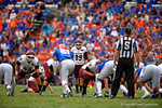 EKU kicker Andrew Lloyd lines up for a field goal attempt that made the game 10-3 in the first quarter.  Florida Gators vs Eastern Kentucky Colonels.  November 22th, 2014. Gator Country photo by David Bowie.