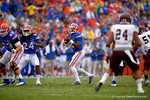 Florida Gators quarterback Treon Harris looks downfield for an open receiver during the first quarter.  Florida Gators vs Eastern Kentucky Colonels.  November 22th, 2014. Gator Country photo by David Bowie.