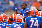Florida Gators wide receiver Andre Debose gets emotional while being lifted up above the team on his senior day.  Florida Gators vs Eastern Kentucky Colonels.  November 22th, 2014. Gator Country photo by David Bowie.