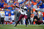 EKU quarterback Bennie Coney throws downfield during the first quarter.  Florida Gators vs Eastern Kentucky Colonels.  November 22th, 2014. Gator Country photo by David Bowie.