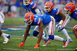 Florida Gators buck lineman Alex McCalister awaits a snap during the first quarter.  Florida Gators vs Eastern Kentucky Colonels.  November 22th, 2014. Gator Country photo by David Bowie.