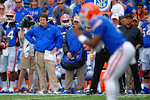 Florida Gators Head Coach Will Muschamp watches his offense during the first quarter.  Florida Gators vs Eastern Kentucky Colonels.  November 22th, 2014. Gator Country photo by David Bowie.