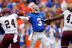 Florida Gators quarterback Treon Harris throws into the endzone for another touchdown.  Florida Gators vs Eastern Kentucky Colonels.  November 22th, 2014. Gator Country photo by David Bowie.