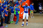 Florida Gators running back Mack Brown runs out onto the field during senior day introductions.  Florida Gators vs Eastern Kentucky Colonels.  November 22th, 2014. Gator Country photo by David Bowie.