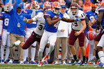 Florida Gators wide receiver Andre Debose carries the ball upfield on the opening kickoff.  Florida Gators vs Eastern Kentucky Colonels.  November 22th, 2014. Gator Country photo by David Bowie.