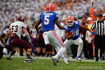 Florida Gators tight end Clay Burton makes a catch in the thrid quarter and looks to turn it up field.  Florida Gators vs Eastern Kentucky Colonels.  November 22th, 2014. Gator Country photo by David Bowie.