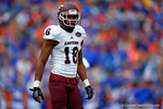 EKU wide receiver Jeff Glover looks to the sideline for instruction during the fist quarter.  Florida Gators vs Eastern Kentucky Colonels.  November 22th, 2014. Gator Country photo by David Bowie.