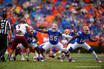 Florida Gators offensive lineman Roderick Johnson and Alex McCalister with no one to block during a field goal attempt in the first quarter to put the Gators up 3-0.  Florida Gators vs Eastern Kentucky Colonels.  November 22th, 2014. Gator Country photo by David Bowie.