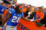 Florida Gators defensive back Marcell Harris shakes hands with the fans as he heads off the field.  Florida Gators vs Eastern Kentucky Colonels.  November 22th, 2014. Gator Country photo by David Bowie.