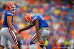Florida Gators defensive lineman Alex McCalister dances around after a sack in the third quarter.  Florida Gators vs Eastern Kentucky Colonels.  November 22th, 2014. Gator Country photo by David Bowie.