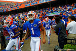 The Florida Gators wait to take the field for the start of the game.  Florida Gators vs Eastern Kentucky Colonels.  November 22th, 2014. Gator Country photo by David Bowie.