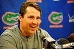 Florida Gators Head Coach Will Muschamp at the last post-game press conference as the Gators head coach.  Florida Gators vs FSU Seminoles.  November 22th, 2014. Gator Country photo by David Bowie.