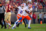 Florida Gators defensive back Jabari Gorman celebrates after a first quarter interception.  Florida Gators vs FSU Seminoles.  November 22th, 2014. Gator Country photo by David Bowie.