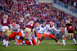 Florida Gators kicker Austin Hardin kicks in a field goal to put the Gators up 3-0 in the first quarter.  Florida Gators vs FSU Seminoles.  November 22th, 2014. Gator Country photo by David Bowie.