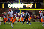 Florida Gators quarterback Treon Harris throws downfield and for an interception during the third quarter.  Florida Gators vs FSU Seminoles.  November 22th, 2014. Gator Country photo by David Bowie.