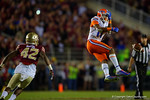 Florida Gators wide receiver Demarcus Robinson drops the ball on fourth down to end the Gators hopes of a comeback in the fourth quarter.  Florida Gators vs FSU Seminoles.  November 22th, 2014. Gator Country photo by David Bowie.