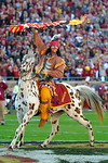 Chief Oscela rides out on Renegade onto the field before the game.  Florida Gators vs FSU Seminoles.  November 22th, 2014. Gator Country photo by David Bowie.