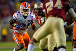 Florida Gators running back Kelvin Taylor rushes upfield during the third quarter.  Florida Gators vs FSU Seminoles.  November 22th, 2014. Gator Country photo by David Bowie.