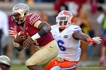 FSU running back Dalvin Cook rushes upfield during the second quarter.  Florida Gators vs FSU Seminoles.  November 22th, 2014. Gator Country photo by David Bowie.