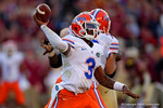Florida Gators quarterback Treon Harris throws downfield during the second quarter.  Florida Gators vs FSU Seminoles.  November 22th, 2014. Gator Country photo by David Bowie.