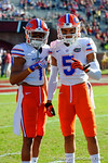 Florida Gators defensive back Vernon Hargreaves, III and Florida Gators defensive back Jalen Tabor pose during pre-game drills.  Florida Gators vs FSU Seminoles.  November 22th, 2014. Gator Country photo by David Bowie.