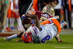Florida Gators wide receiver Latroy Pittman makes a catch while on his back during the third quarter.  Florida Gators vs FSU Seminoles.  November 29th, 2014. Gator Country photo by David Bowie.