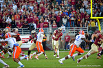 FSU quarterback Jameis Winston throws downfield during the second quarter.  Florida Gators vs FSU Seminoles.  November 22th, 2014. Gator Country photo by David Bowie.