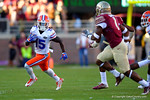 Florida Gators running back Brandon Powell rushes to get to the corner during the first quarter.  Florida Gators vs FSU Seminoles.  November 22th, 2014. Gator Country photo by David Bowie.