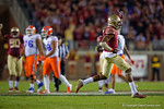 FSU defensive back Jalen Ramsey celebrates after his interception in the third quarter.  Florida Gators vs FSU Seminoles.  November 22th, 2014. Gator Country photo by David Bowie.