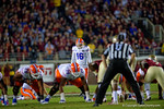 Florida Gators kicker Austin Hardin lines up for a field goal attempt in the third quarter that he missed.  Florida Gators vs FSU Seminoles.  November 22th, 2014. Gator Country photo by David Bowie.