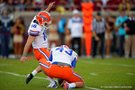 Florida Gators kicker Austin Hardin knocks in the extra point attempt late in the second quarter.  Florida Gators vs FSU Seminoles.  November 22th, 2014. Gator Country photo by David Bowie.