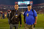 Gator Country reporters Nick de La Torre and Andrew Spivey on the field.   Florida Gators vs FSU Seminoles.  November 22th, 2014. Gator Country photo by David Bowie.