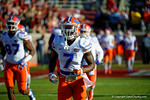 Florida Gators safety Duke Dawson runs out onto the field for the start of the game.  Florida Gators vs FSU Seminoles.  November 22th, 2014. Gator Country photo by David Bowie.