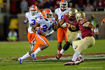 Florida Gators defensive back Brian Poole sprints downfield after an interception catch in the third quarter.  Florida Gators vs FSU Seminoles.  November 22th, 2014. Gator Country photo by David Bowie.