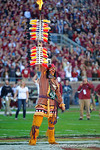 Chief Oscela plants the spear into the field before the game.  Florida Gators vs FSU Seminoles.  November 22th, 2014. Gator Country photo by David Bowie.