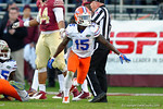 Florida Gators running back Brandon Powell celebrates as the Gators force another turnover in the first half.  Florida Gators vs FSU Seminoles.  November 22th, 2014. Gator Country photo by David Bowie.
