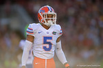 Florida Gators defensive back Jalen Tabor looks to the sideline during the first quarter.  Florida Gators vs FSU Seminoles.  November 22th, 2014. Gator Country photo by David Bowie.