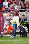 FSU safety Lamarcus Brutus with an interception in the second quarter.  Florida Gators vs FSU Seminoles.  November 22th, 2014. Gator Country photo by David Bowie.