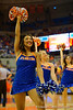 A Florida Gators Dazzler dances for the fans during a timeout during the second half.  Florida Gators vs UCONN Huskies.  January 3rd, 2015. Gator Country photo by David Bowie.