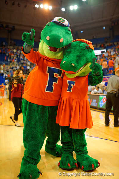 Albert and Alberta pose for the camera after the game.  Florida Gators vs UCONN Huskies.  January 3rd, 2015. Gator Country photo by David Bowie.