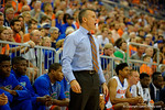 Florida Gators head coach Billy Donovan yells out to the court during the second half.  Florida Gators vs UCONN Huskies.  January 3rd, 2015. Gator Country photo by David Bowie.