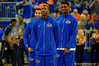 Florida Gators guard DeVon Walker watches on as the Gators warm up prior to tip off.  Florida Gators vs UCONN Huskies.  January 3rd, 2015. Gator Country photo by David Bowie.