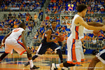 UCONN Huskies forward Kentan Facey dribbles downcourt during the first half.  Florida Gators vs UCONN Huskies.  January 3rd, 2015. Gator Country photo by David Bowie.